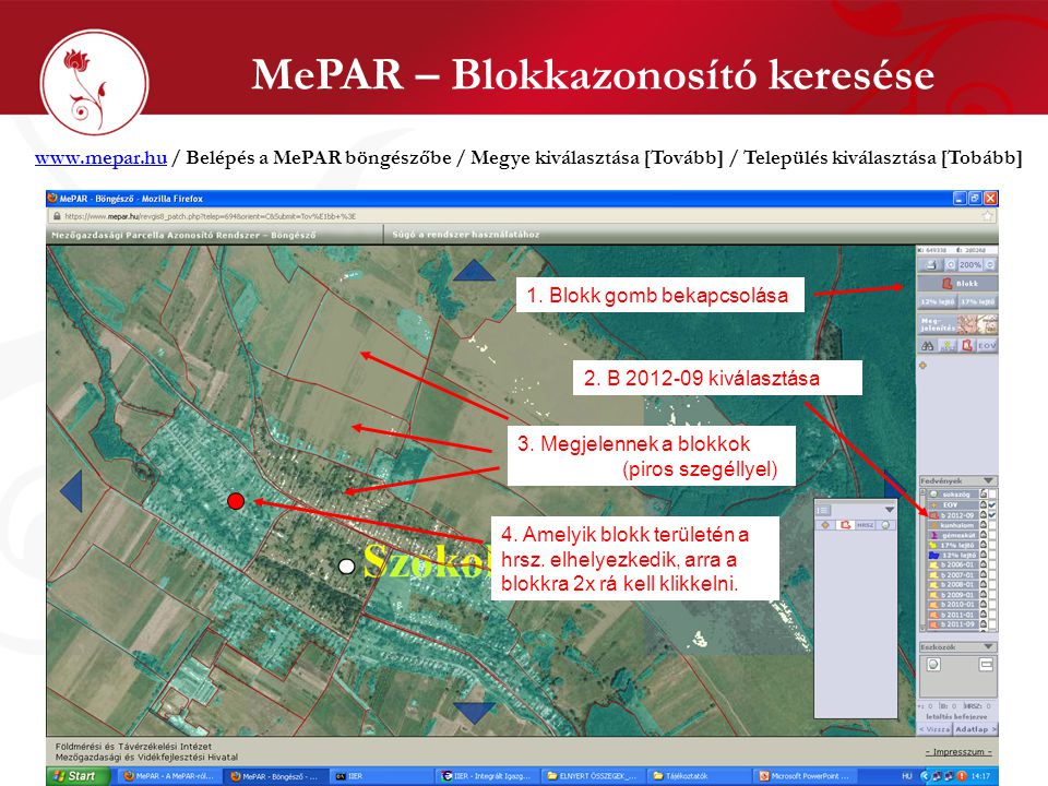 MePAR – Blokkazonosító keresése
