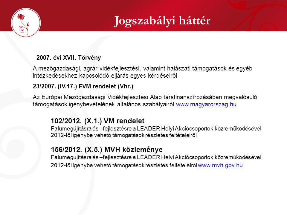 Jogszabályi háttér 102/2012. (X.1.) VM rendelet