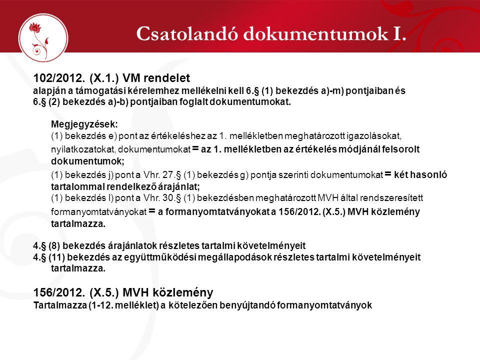 Csatolandó dokumentumok I.