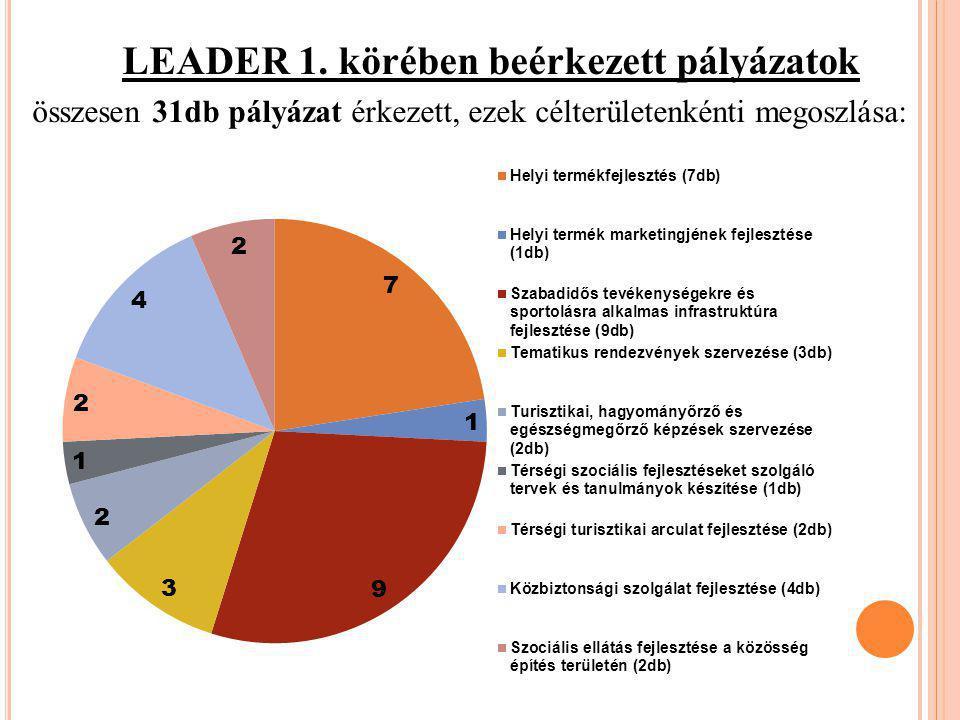 LEADER 1. körében beérkezett pályázatok