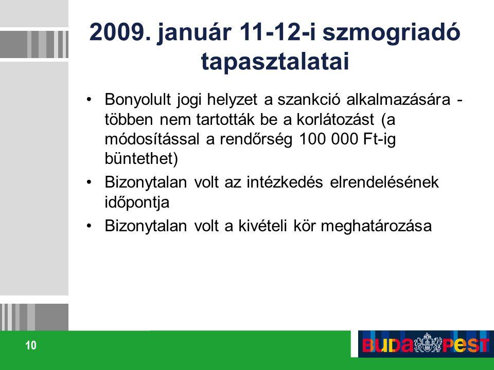 2009. január 11-12-i szmogriadó tapasztalatai