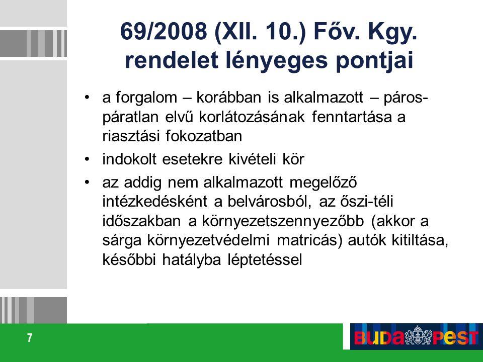69/2008 (XII. 10.) Főv. Kgy. rendelet lényeges pontjai