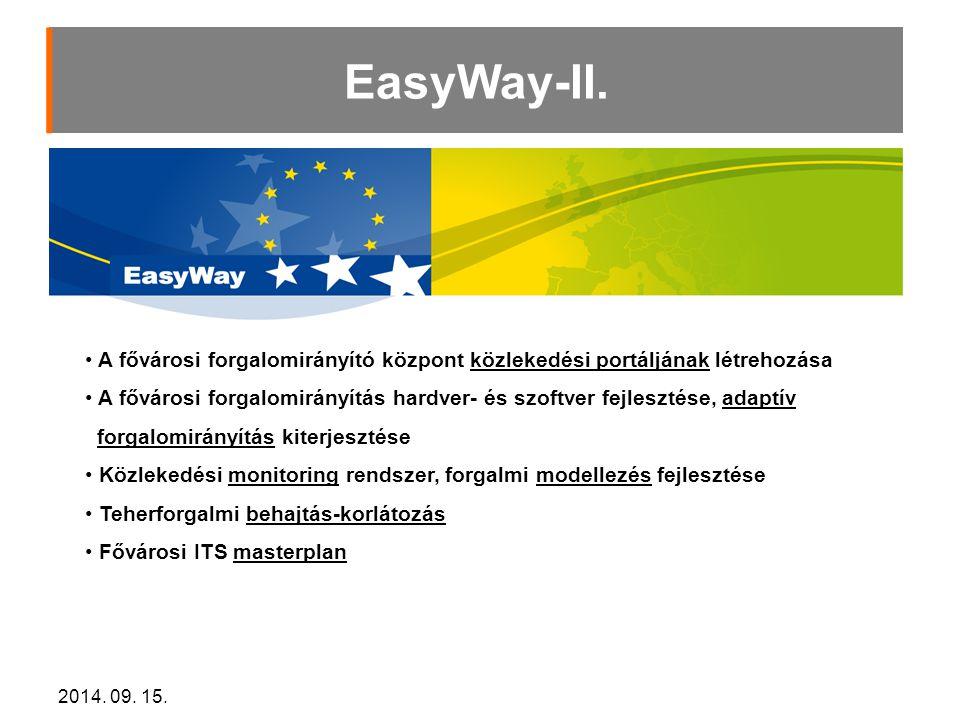 EasyWay-II. A fővárosi forgalomirányító központ közlekedési portáljának létrehozása.
