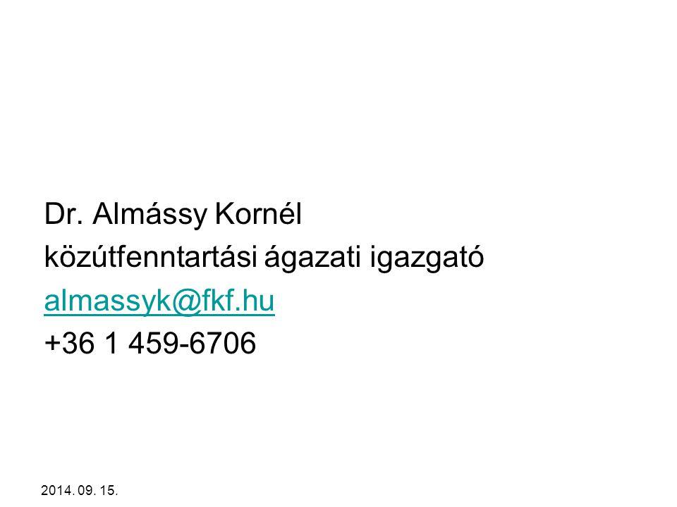 közútfenntartási ágazati igazgató almassyk@fkf.hu +36 1 459-6706