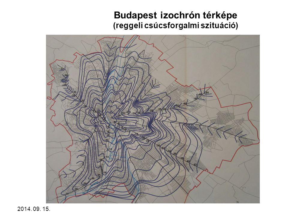 Budapest izochrón térképe (reggeli csúcsforgalmi szituáció)