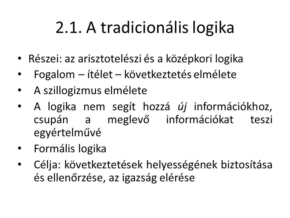 2.1. A tradicionális logika