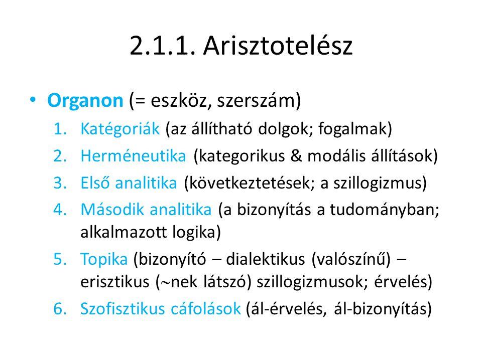 2.1.1. Arisztotelész Organon (= eszköz, szerszám)