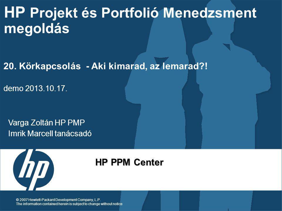 HP Projekt és Portfolió Menedzsment megoldás
