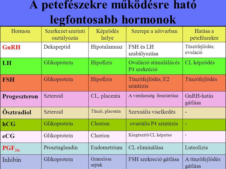 A petefészekre működésre ható legfontosabb hormonok
