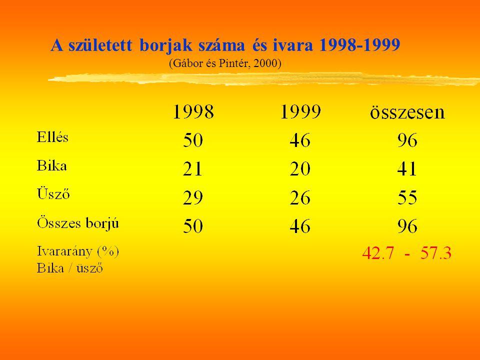A született borjak száma és ivara 1998-1999 (Gábor és Pintér, 2000)