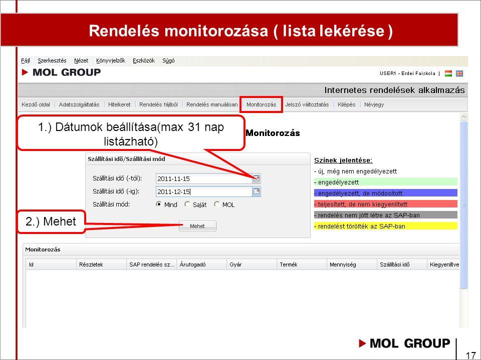 Rendelés monitorozása ( lista lekérése )