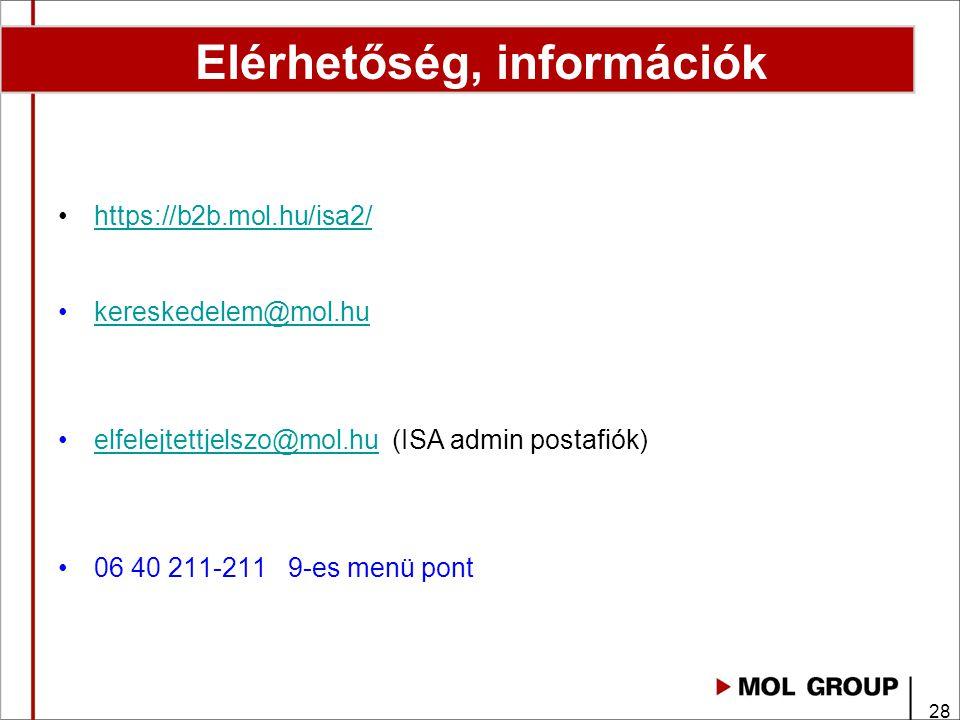 Elérhetőség, információk