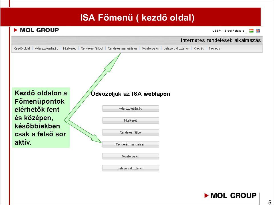 ISA Főmenü ( kezdő oldal)