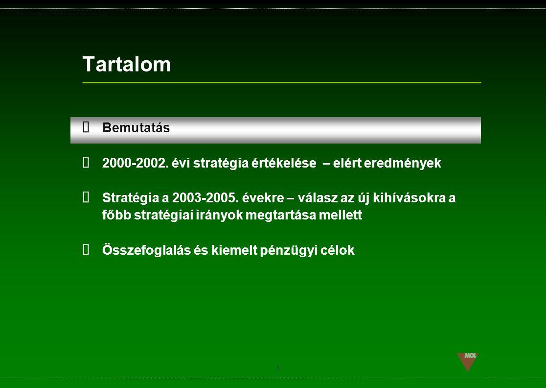 Tartalom Bemutatás. 2000-2002. évi stratégia értékelése – elért eredmények.