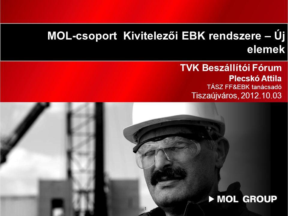 MOL-csoport Kivitelezői EBK rendszere – Új elemek