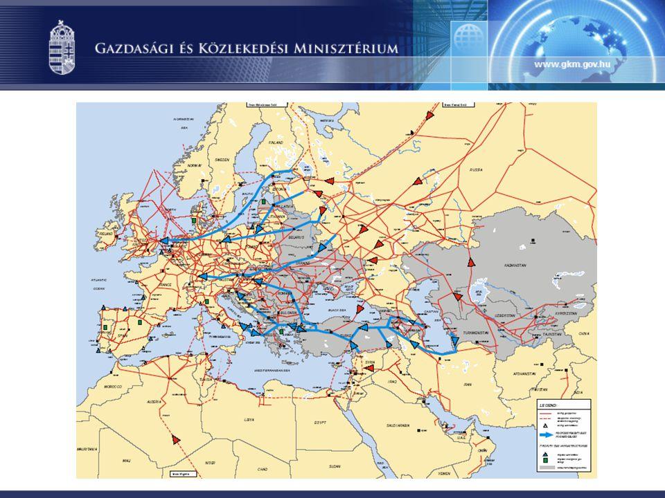 Energiaimport diverzifikáció: jelentősége igazán a földgáz vonatkozásában ragadható meg mind a földgázforrások, mind a beszállítási útvonalak szempontjából, ezen belül fontos: