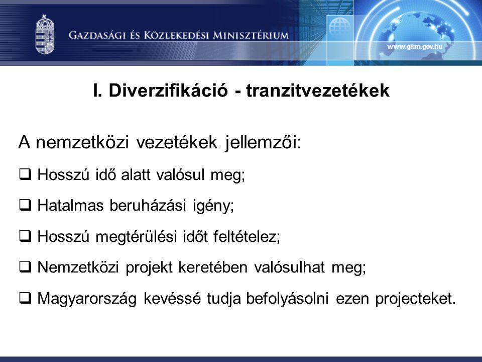 I. Diverzifikáció - tranzitvezetékek