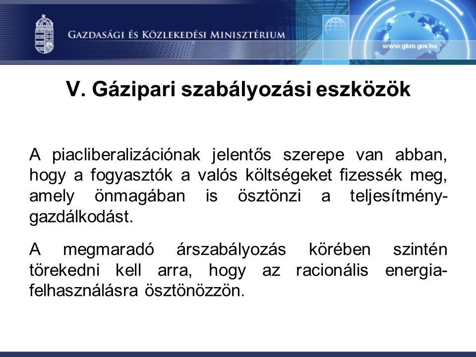 V. Gázipari szabályozási eszközök
