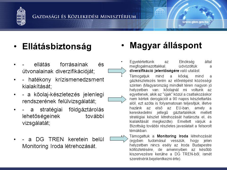Magyar álláspont Ellátásbiztonság