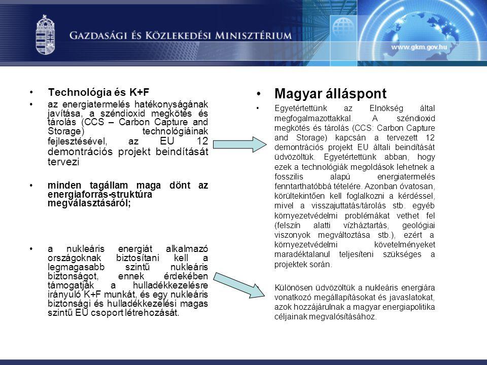Magyar álláspont Technológia és K+F
