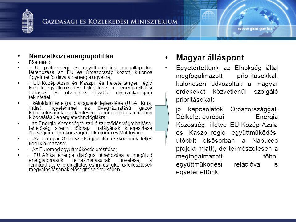Magyar álláspont Nemzetközi energiapolitika