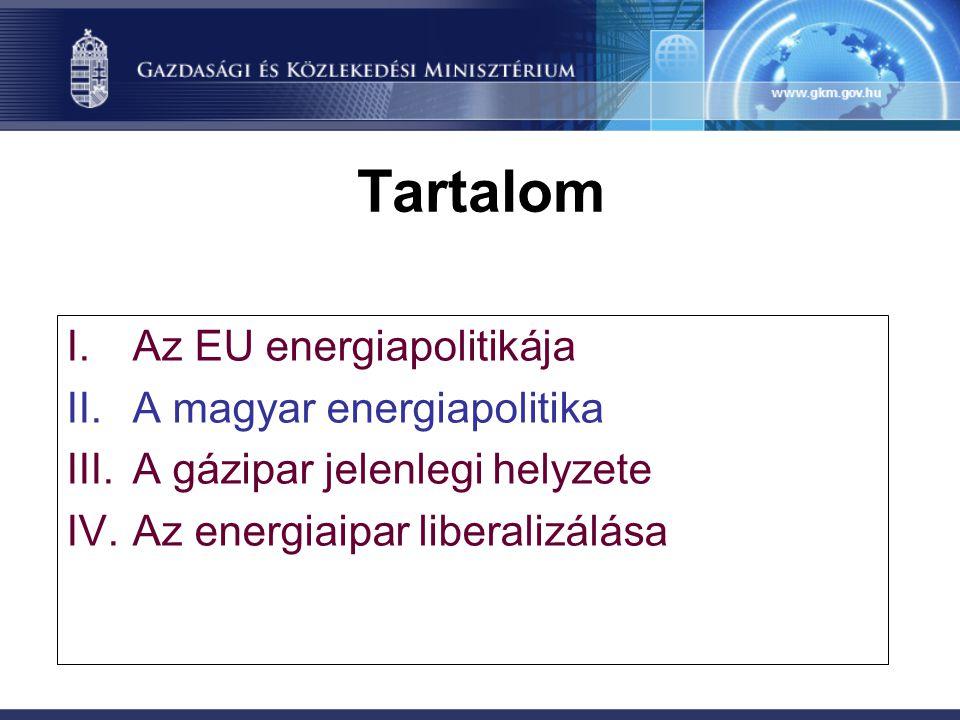 Tartalom Az EU energiapolitikája A magyar energiapolitika