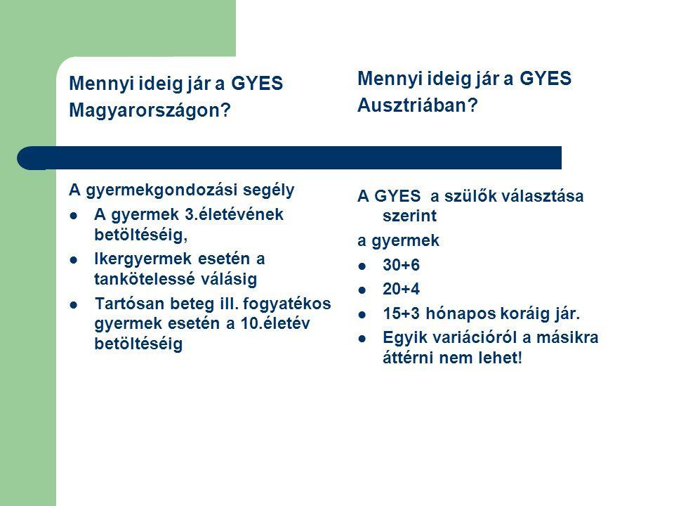 Mennyi ideig jár a GYES Mennyi ideig jár a GYES Ausztriában