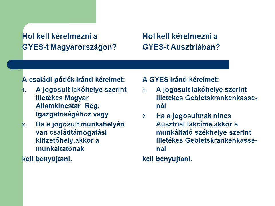 GYES-t Magyarországon Hol kell kérelmezni a GYES-t Ausztriában