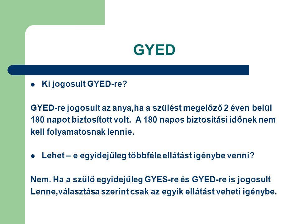 GYED Ki jogosult GYED-re