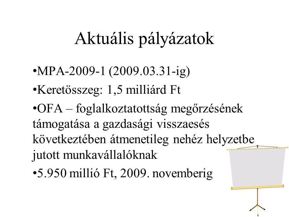 Aktuális pályázatok MPA-2009-1 (2009.03.31-ig)