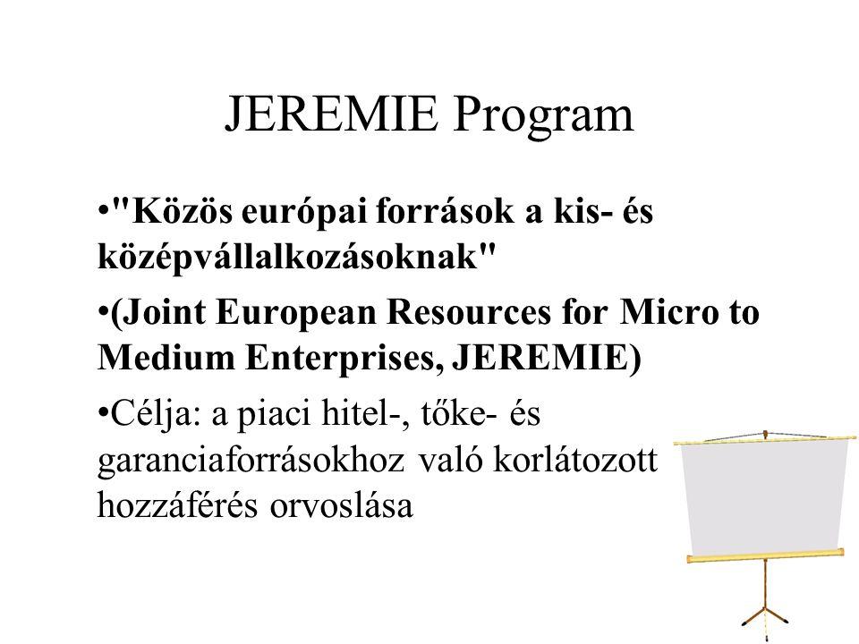JEREMIE Program Közös európai források a kis- és középvállalkozásoknak (Joint European Resources for Micro to Medium Enterprises, JEREMIE)