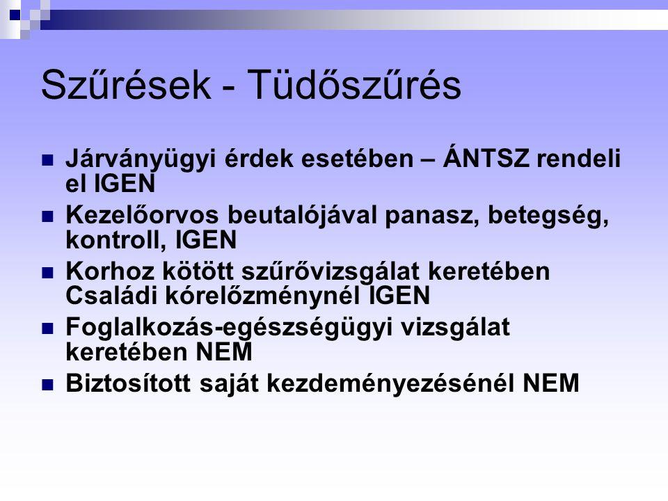 Szűrések - Tüdőszűrés Járványügyi érdek esetében – ÁNTSZ rendeli el IGEN. Kezelőorvos beutalójával panasz, betegség, kontroll, IGEN.