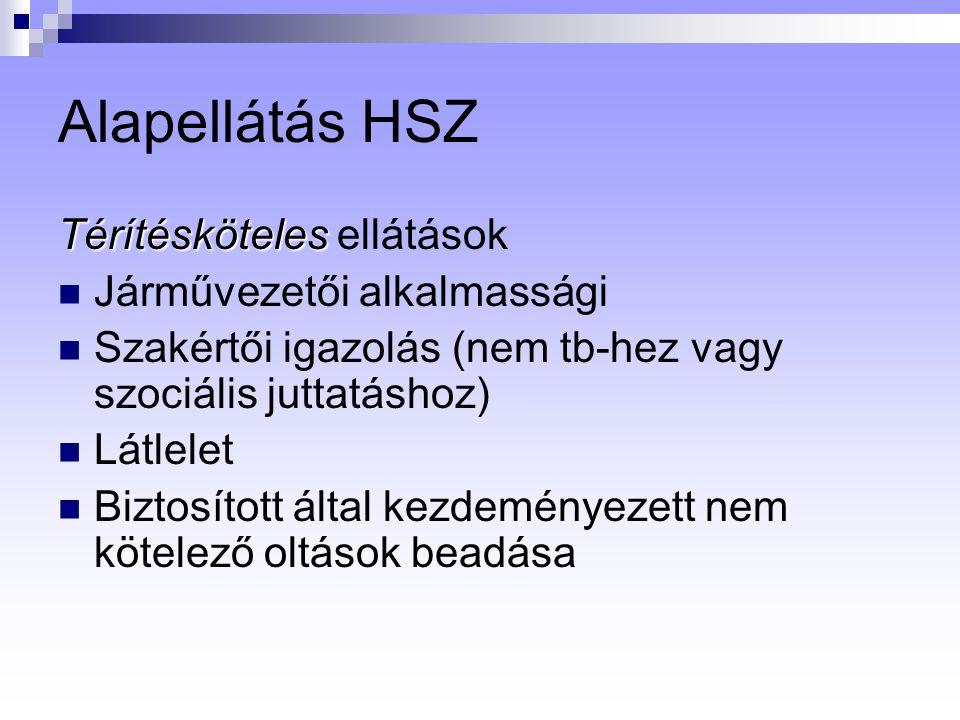 Alapellátás HSZ Térítésköteles ellátások Járművezetői alkalmassági