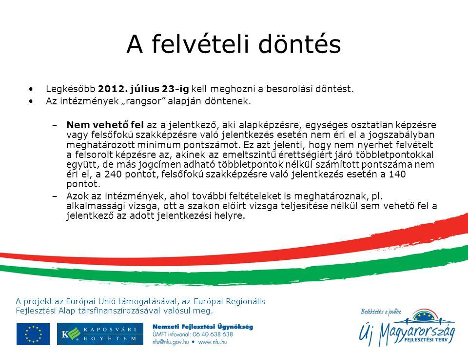 """A felvételi döntés Legkésőbb 2012. július 23-ig kell meghozni a besorolási döntést. Az intézmények """"rangsor alapján döntenek."""