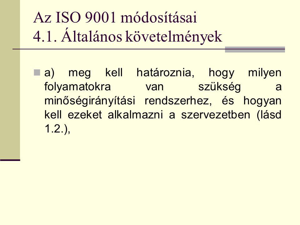 Az ISO 9001 módosításai 4.1. Általános követelmények