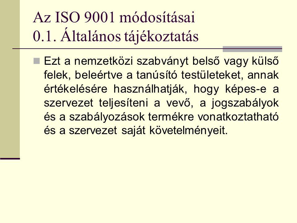 Az ISO 9001 módosításai 0.1. Általános tájékoztatás