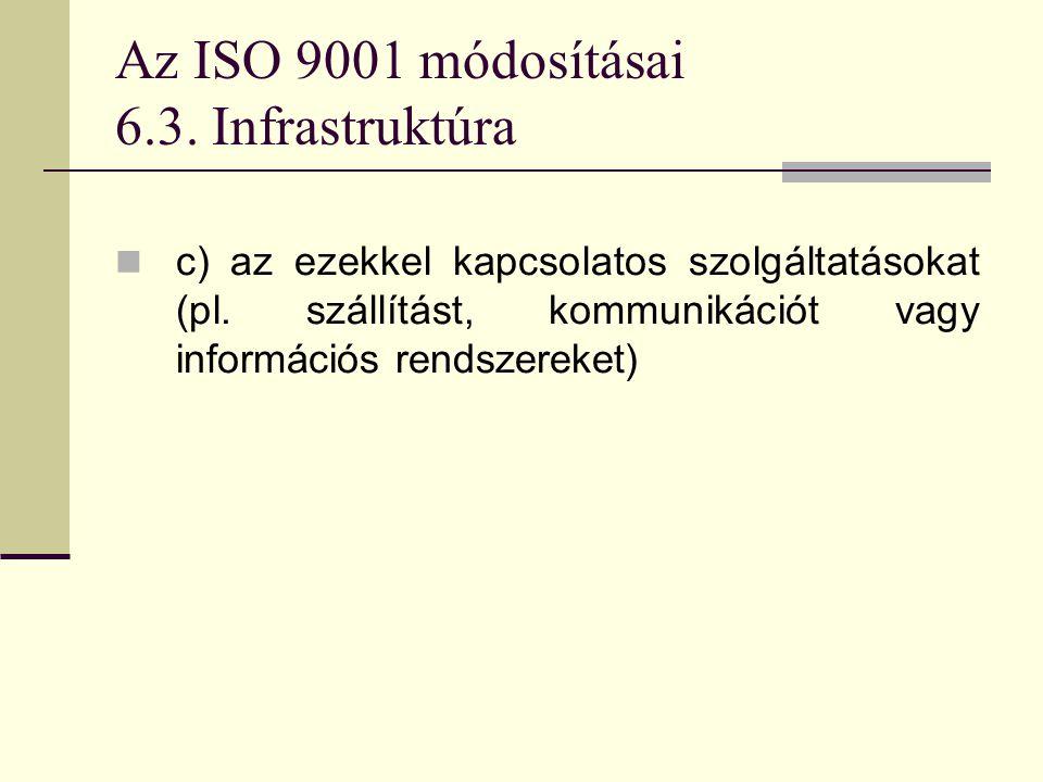 Az ISO 9001 módosításai 6.3. Infrastruktúra