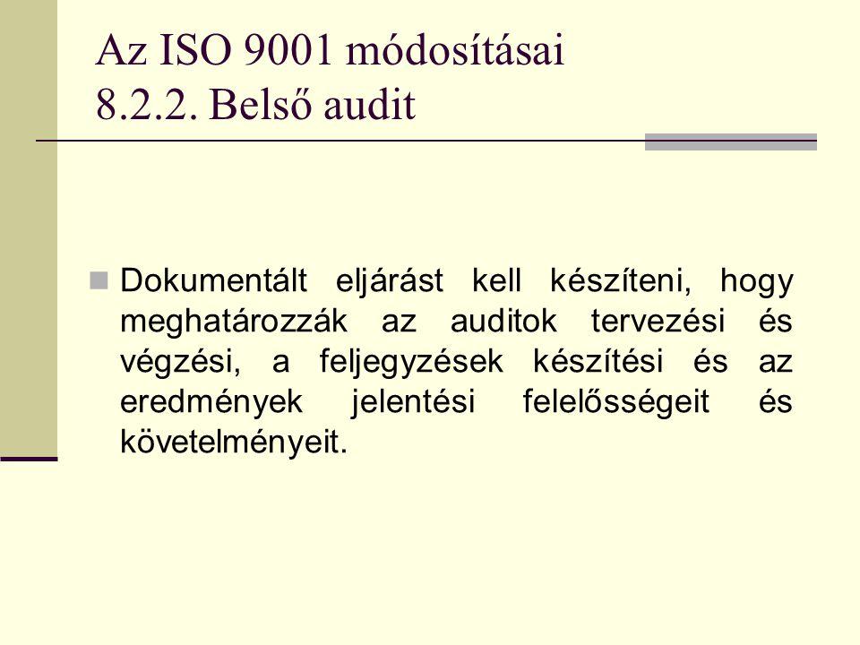 Az ISO 9001 módosításai 8.2.2. Belső audit