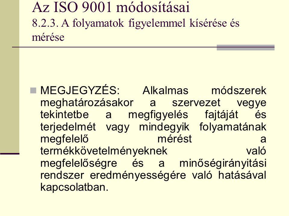 Az ISO 9001 módosításai 8.2.3. A folyamatok figyelemmel kísérése és mérése