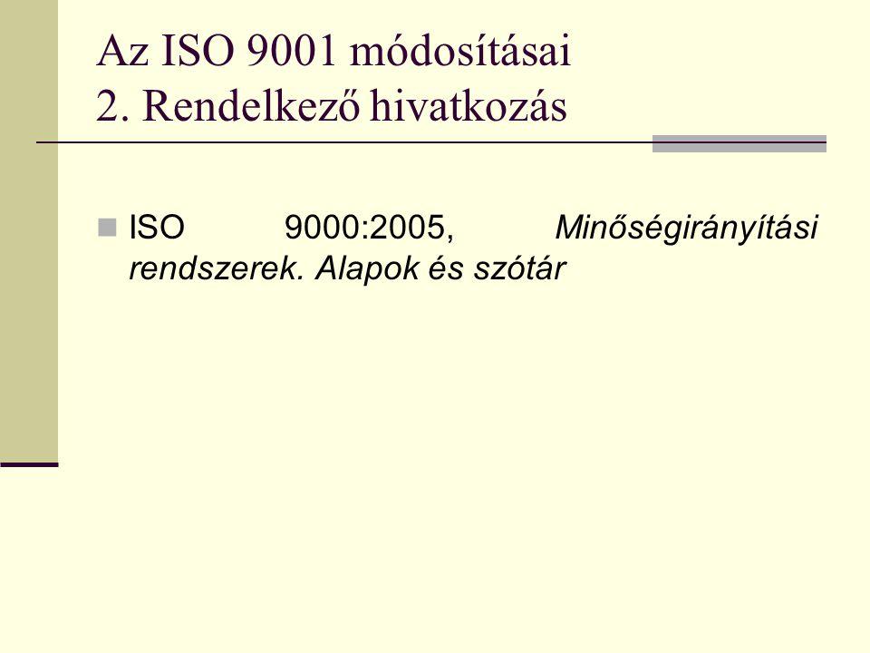Az ISO 9001 módosításai 2. Rendelkező hivatkozás