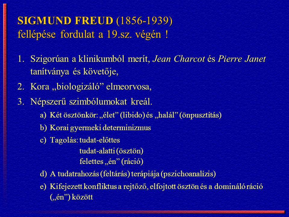 SIGMUND FREUD (1856-1939) fellépése fordulat a 19.sz. végén !