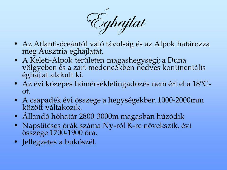 Éghajlat Az Atlanti-óceántól való távolság és az Alpok határozza meg Ausztria éghajlatát.