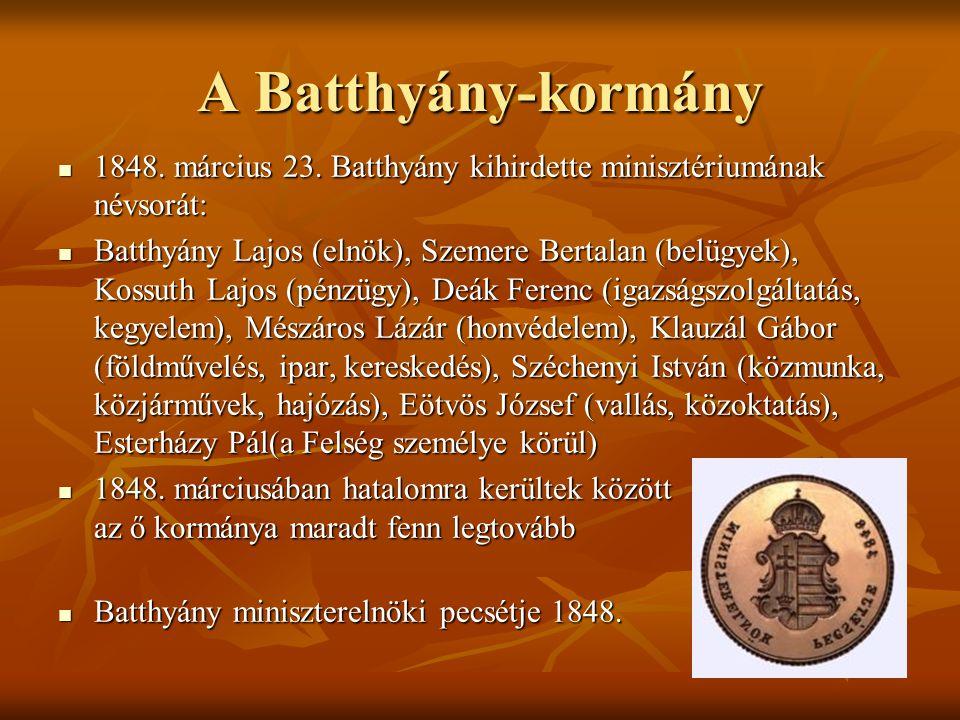 A Batthyány-kormány 1848. március 23. Batthyány kihirdette minisztériumának névsorát: