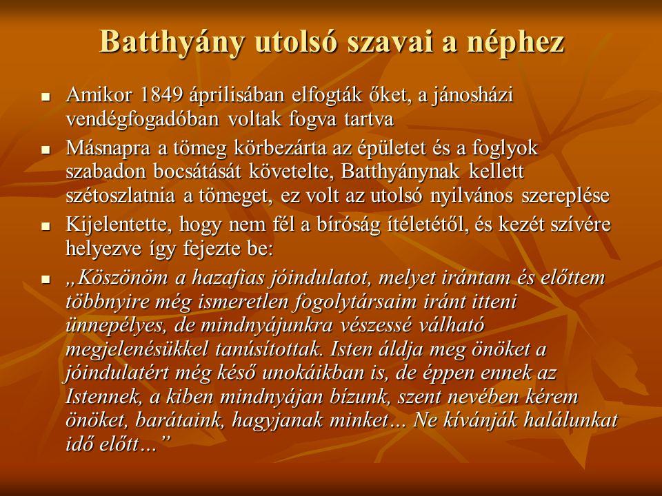 Batthyány utolsó szavai a néphez