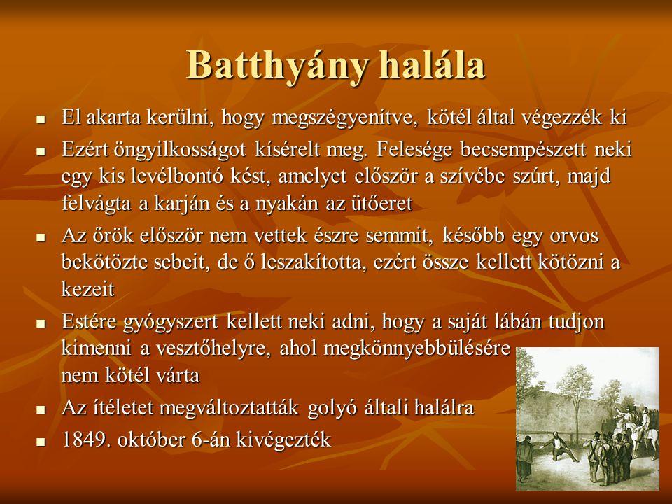 Batthyány halála El akarta kerülni, hogy megszégyenítve, kötél által végezzék ki.