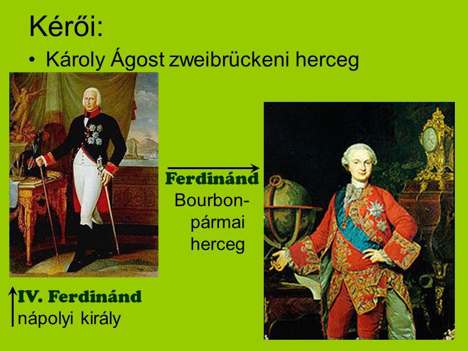 Kérői: Károly Ágost zweibrückeni herceg Ferdinánd Bourbon- pármai