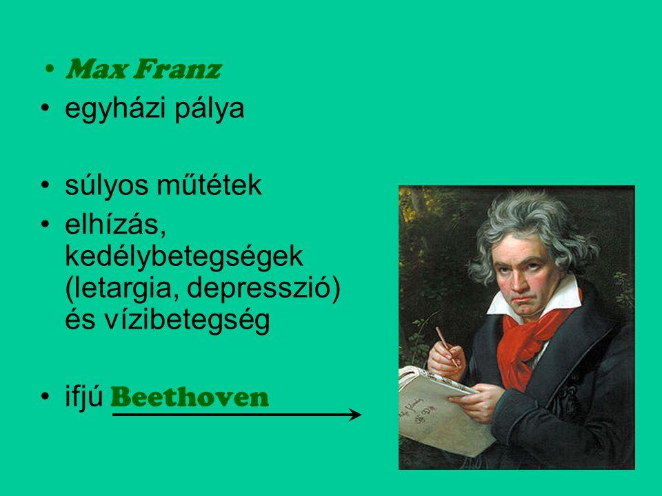 Max Franz egyházi pálya. súlyos műtétek. elhízás, kedélybetegségek (letargia, depresszió) és vízibetegség.