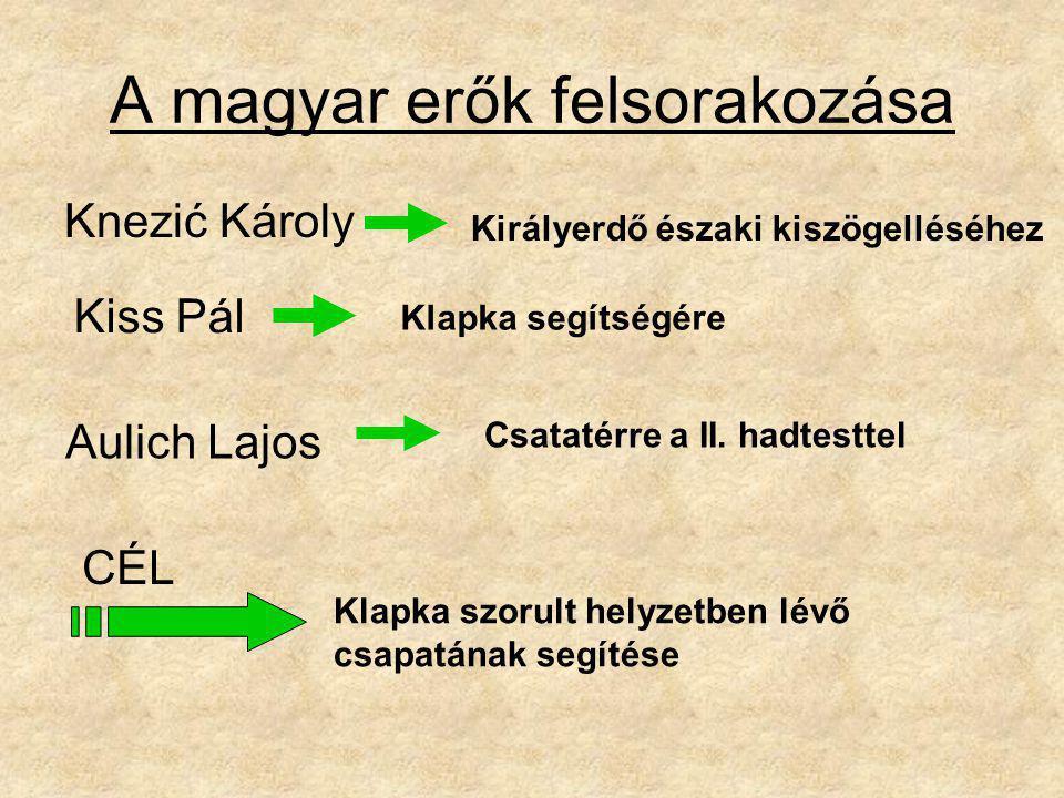 A magyar erők felsorakozása