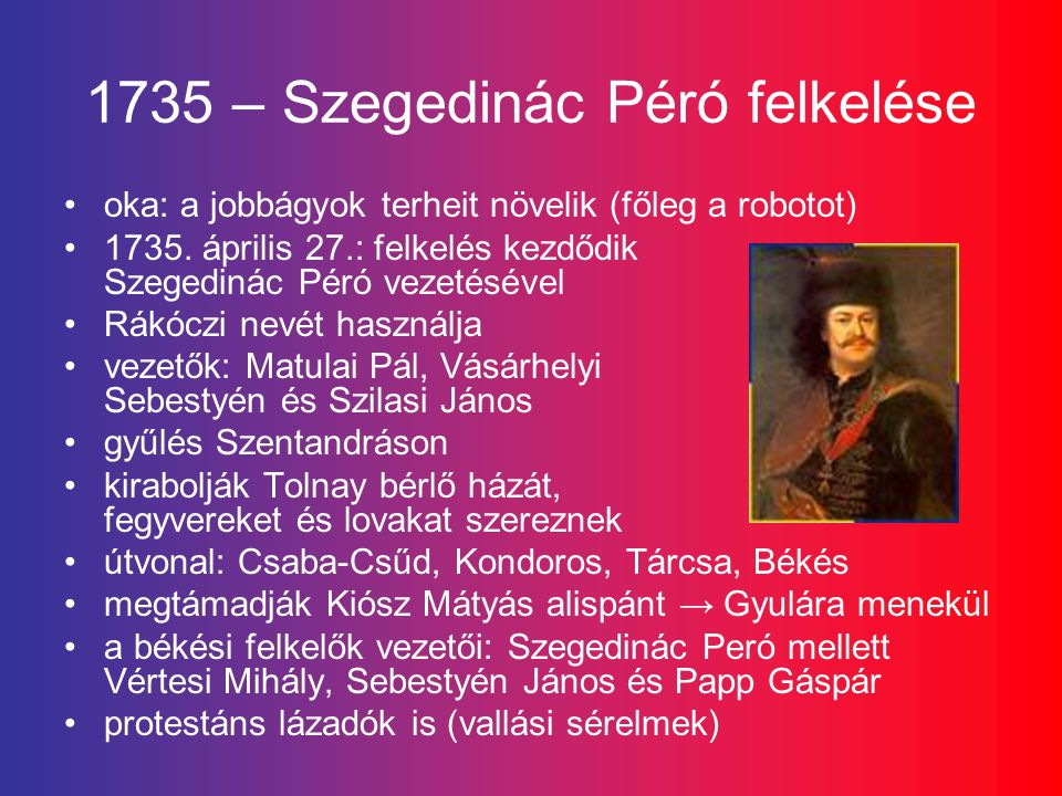 1735 – Szegedinác Péró felkelése