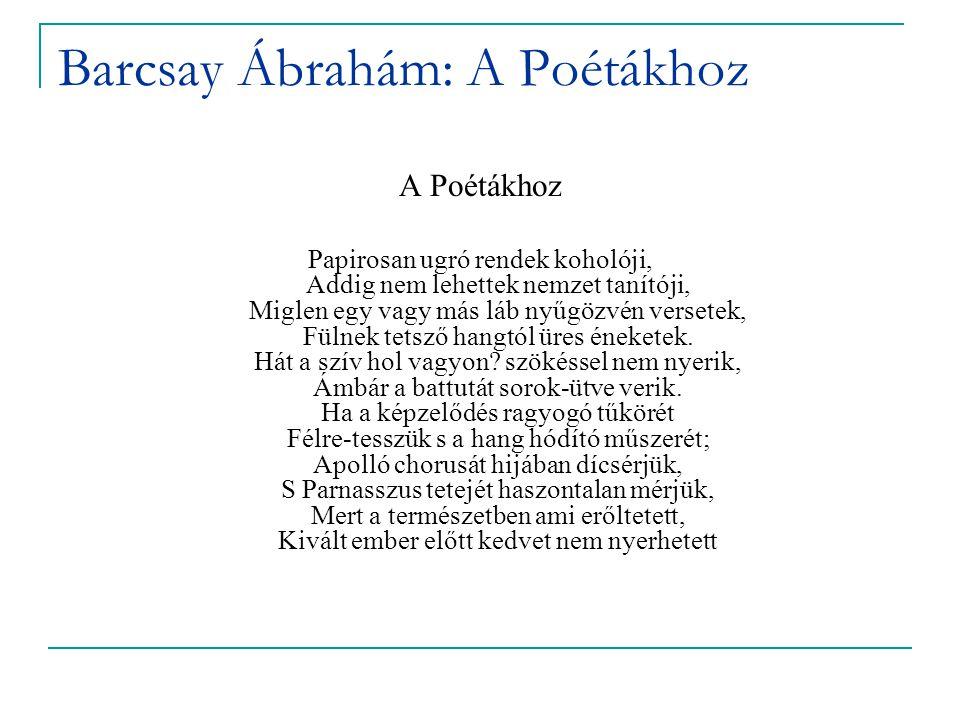 Barcsay Ábrahám: A Poétákhoz